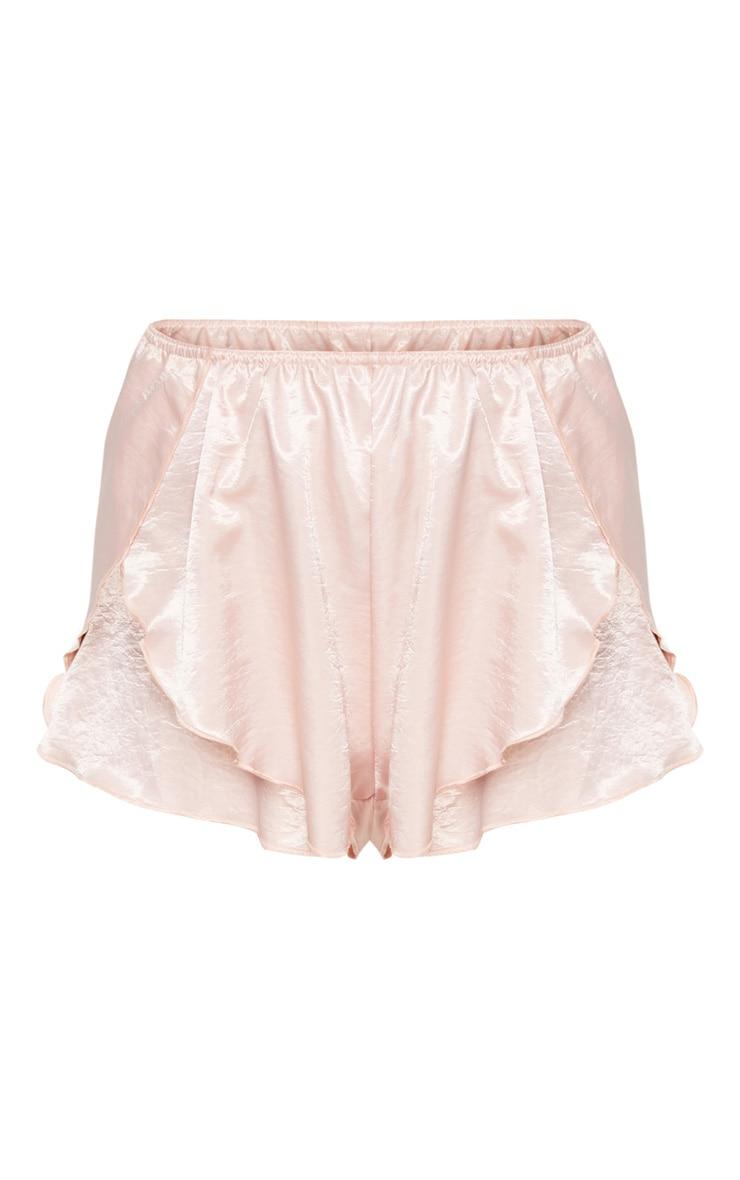 Pink Satin Frill Hot Pant 3