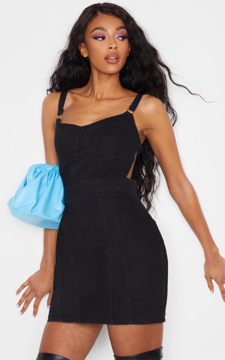 Washed Black Corset Cut Out Denim Dress 1