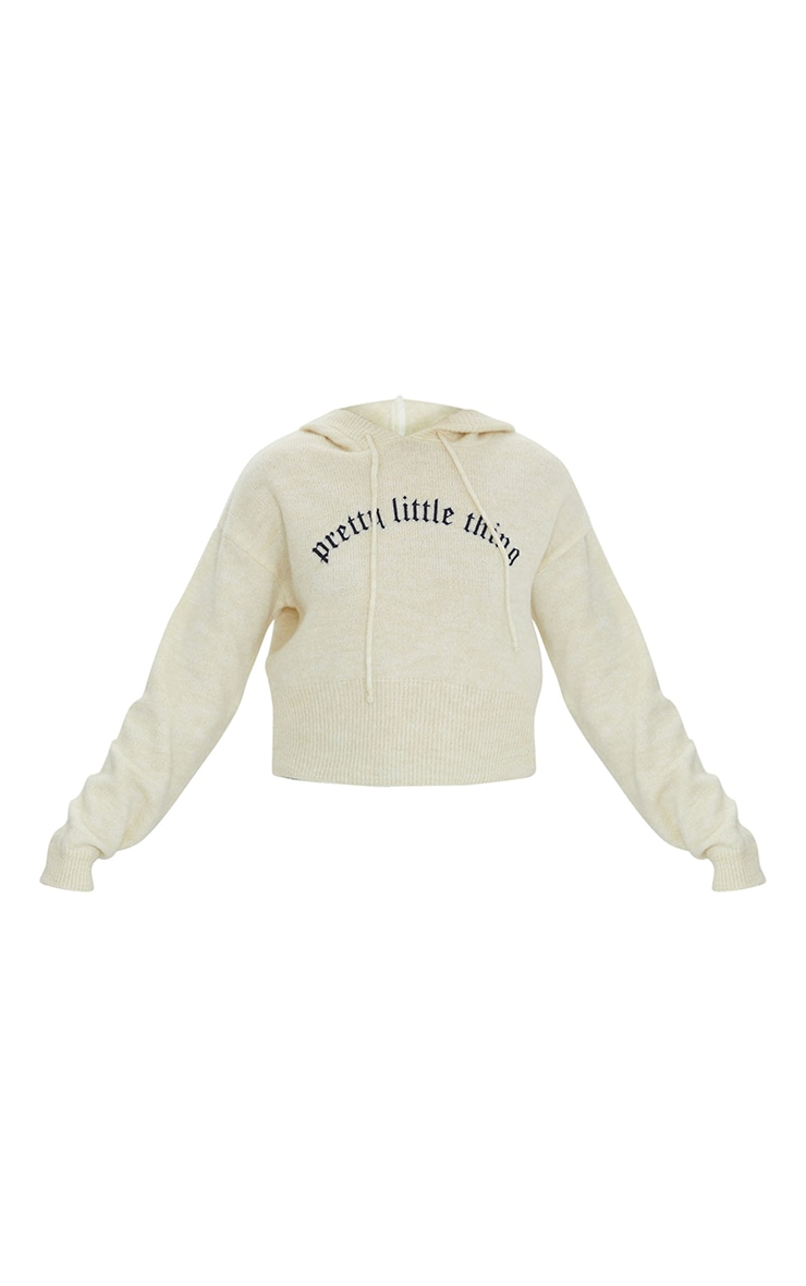 PRETTYLITTLETHING Cream Slogan Printed Knitted Crop Hoodie 5