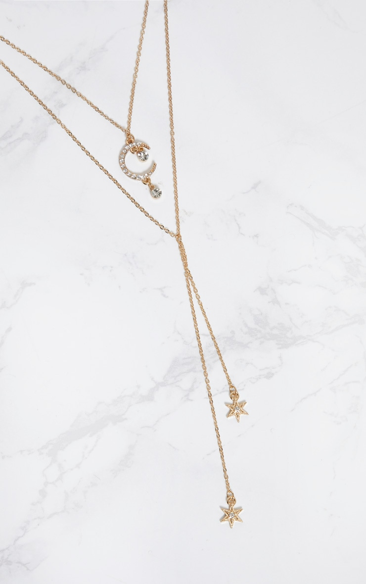 Gold Diamante Moon Star Layered Necklace 3