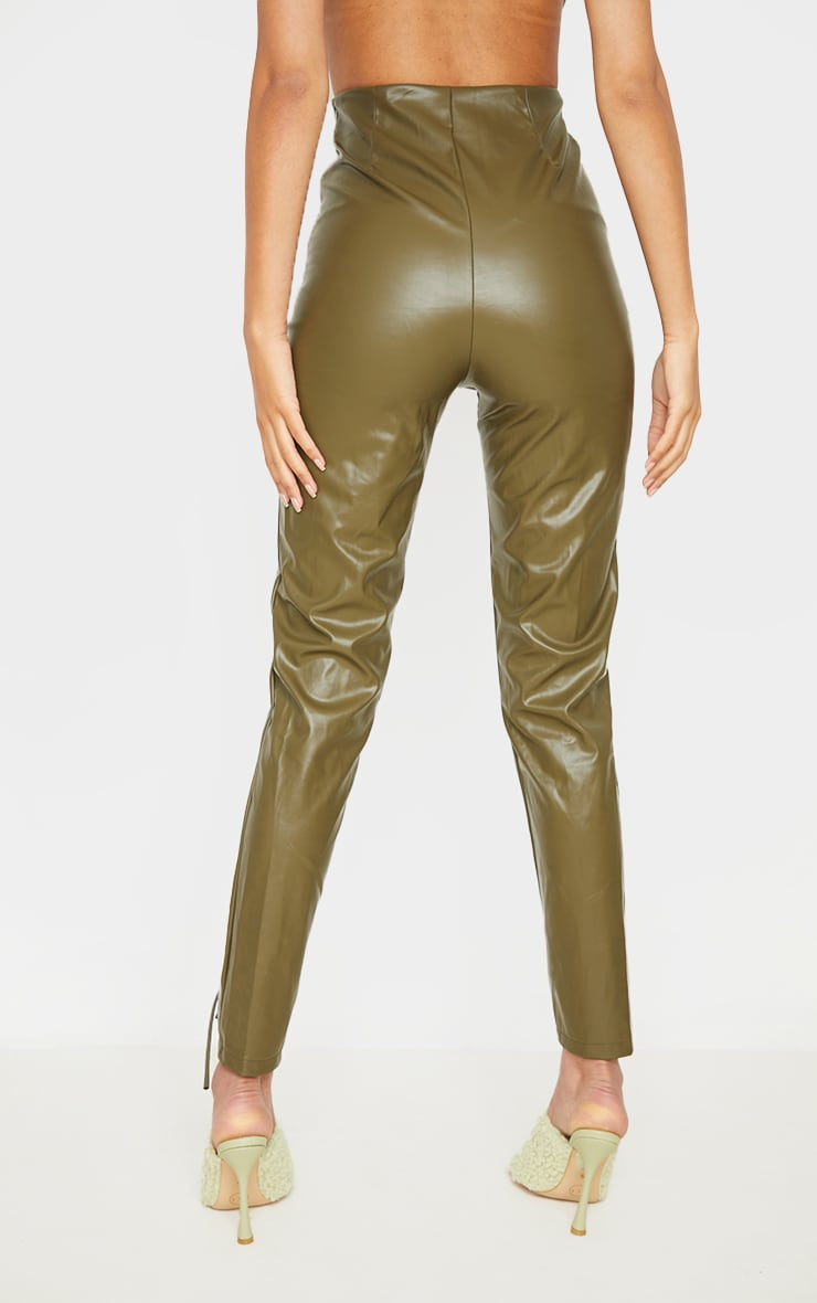 Tall  Olive Lace Up Pu Pants 3