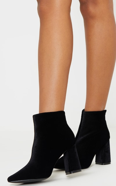 Black Velvet Block Heel Ankle Boot