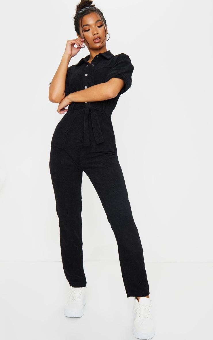Black Button Front Short Sleeve Cord Jumpsuit 3