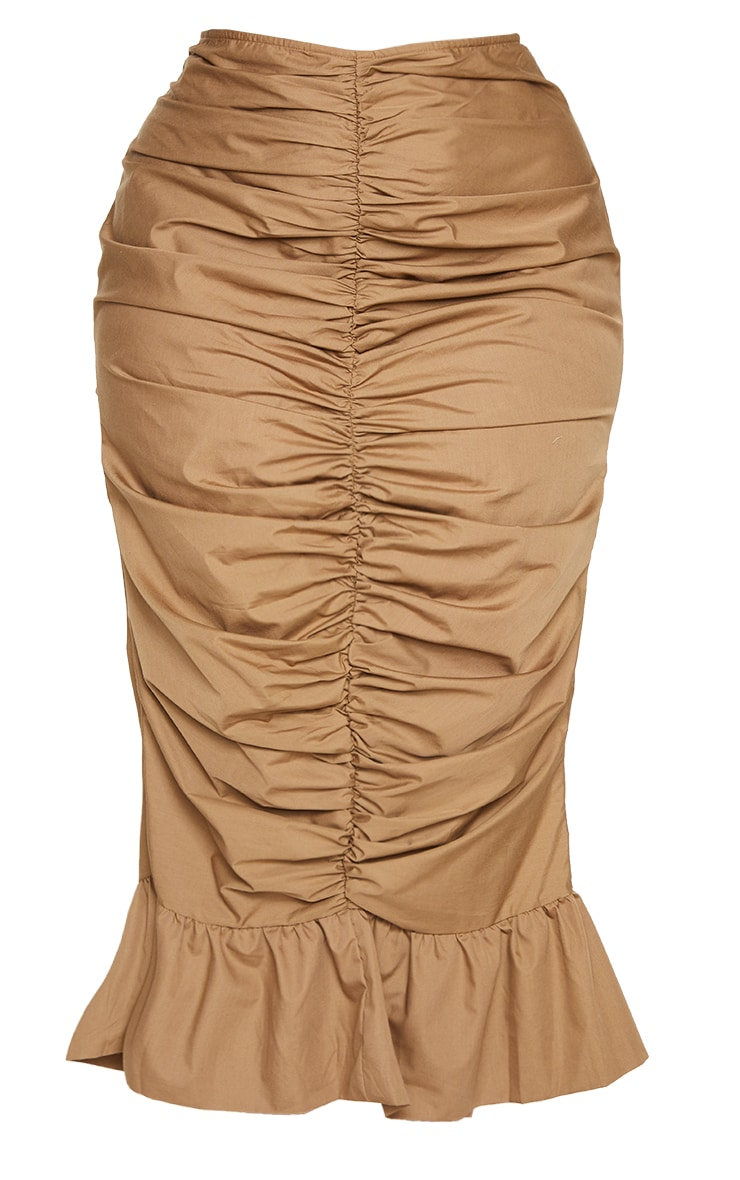 Plus Camel Woven Ruched Frill Hem Midi Skirt 5