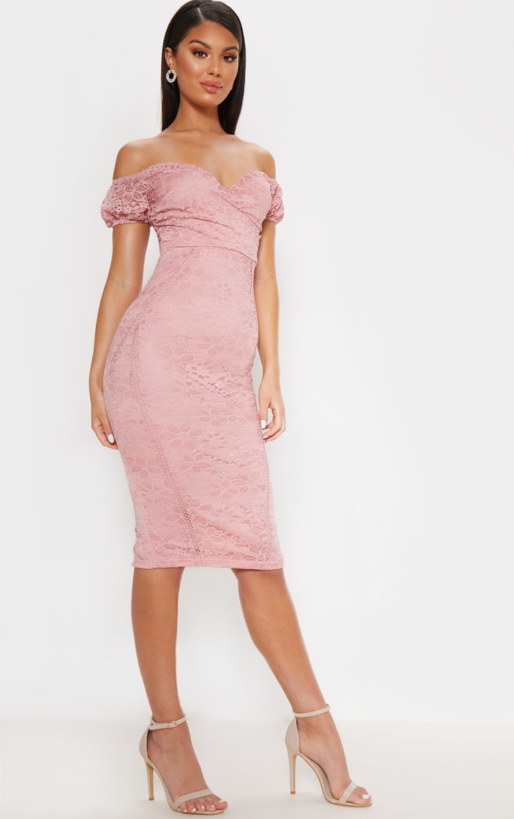 Rose Lace Bardot Wrap Midi Dress 4
