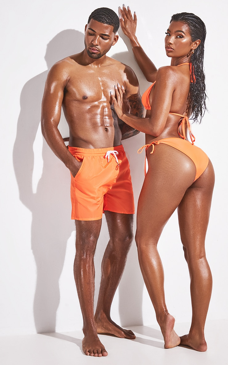 Orange Mid Length Swim Shorts 1
