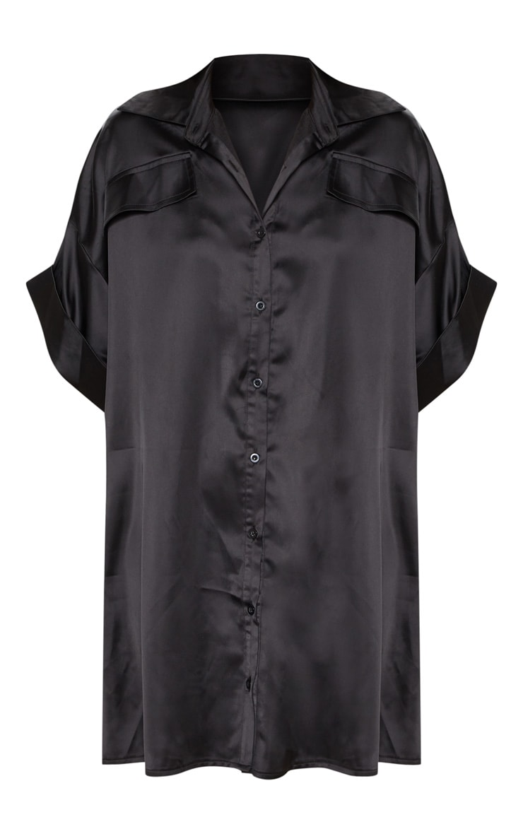 Black Satin Pocket Front Short Sleeve Shirt Dress 3