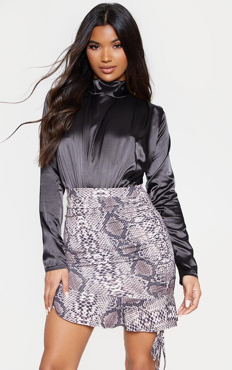 Brown Slinky Snake Print Ruched Side Mini Skirt  1