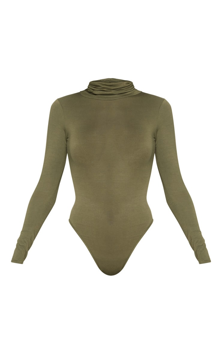 Khaki Roll Neck Long Sleeve Bodysuit 3