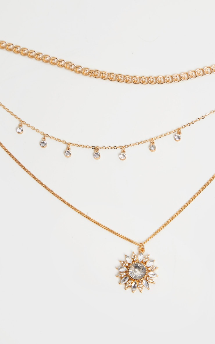 Gold Diamante Flower Triple Layering Necklace 3