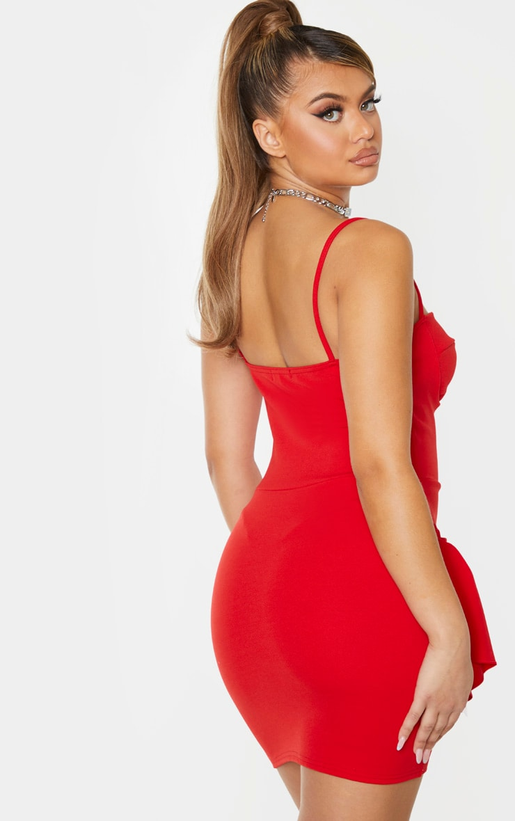 Red Strappy Ruched Frill Hem Detail Bodycon Dress 2