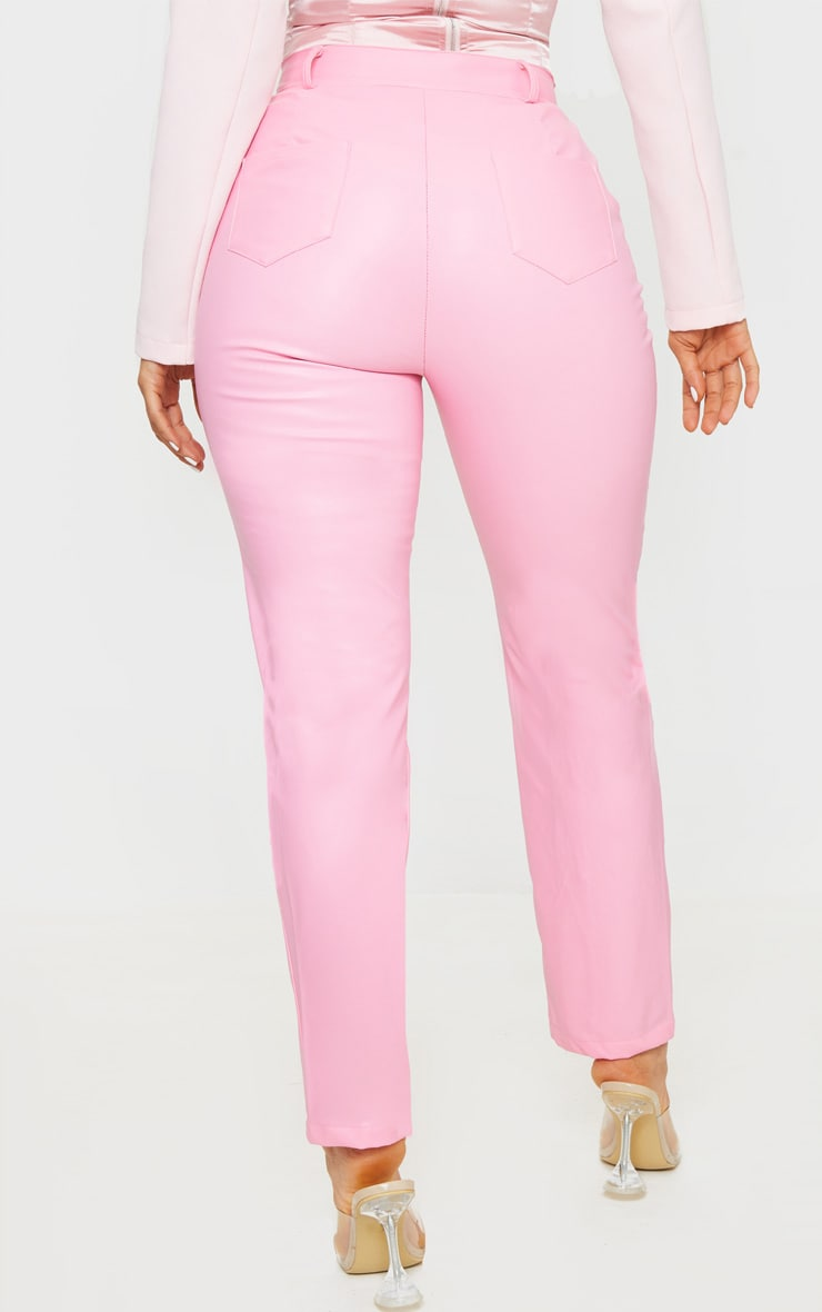 Pink Faux Leather Pintuck Skinny Trousers 4