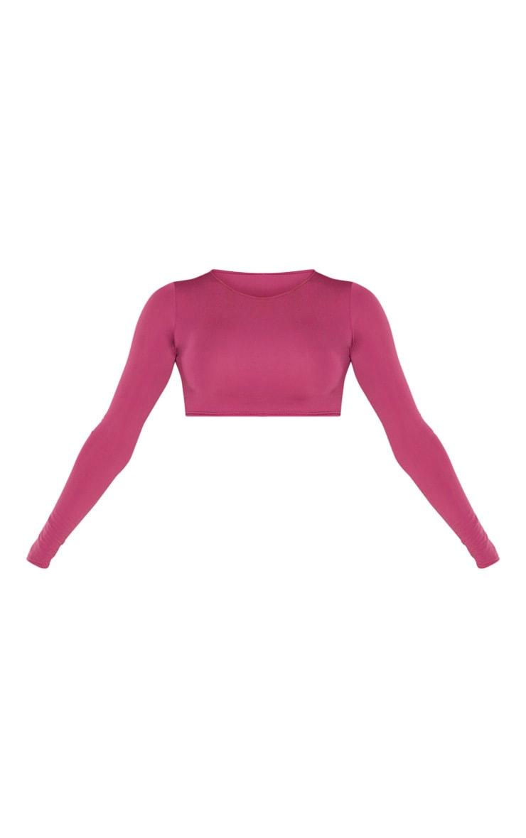 Pink High Neck Long Sleeve Bikini Top 3