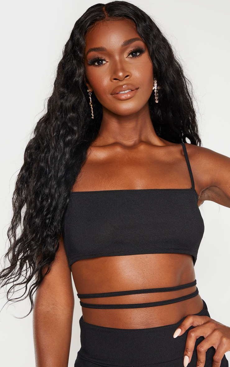 Black Ribbed Strappy Cut Out Detail Bodycon Dress 5