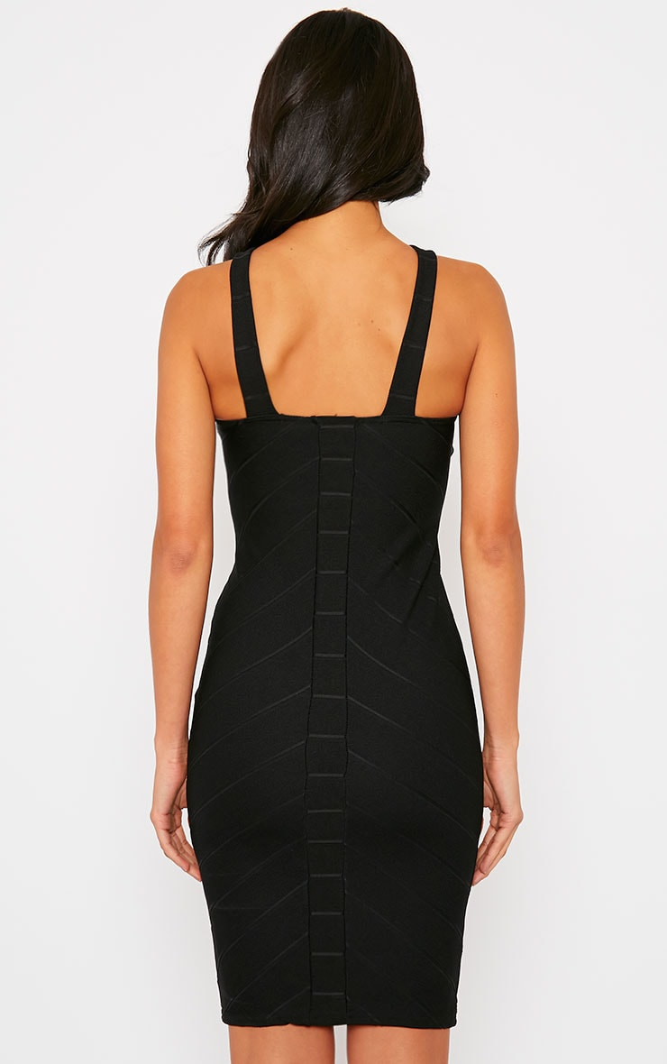 Becka Black Cross Front Bandage Dress 2
