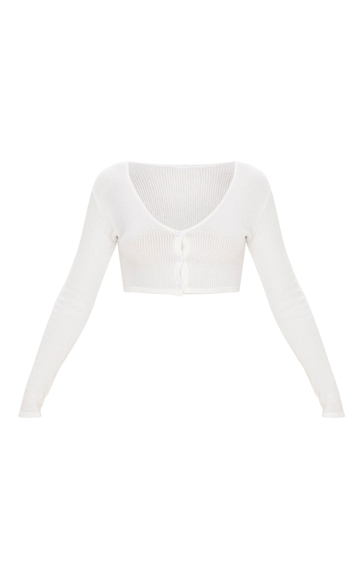 White Brushed Rib Button Up Long Sleeve Crop Top 3