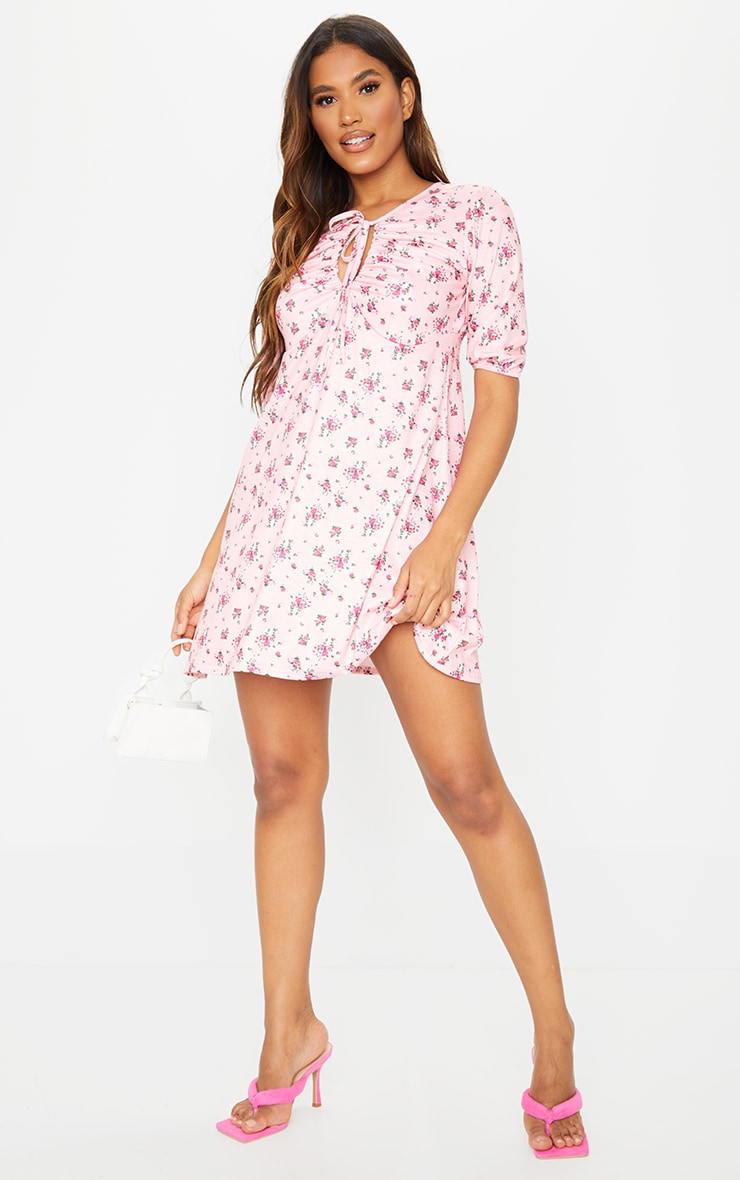 Pink Ditsy Print Tie Bust Detail Shift Dress 3