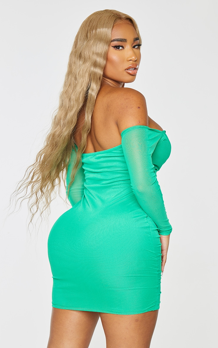 Shape Bright Green Mesh Ruched Bardot Bodycon Dress 2