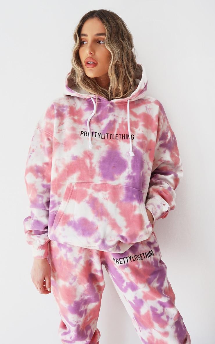 PRETTYLITTLETHING Pink Oversized Tie Dye Hoodie 1