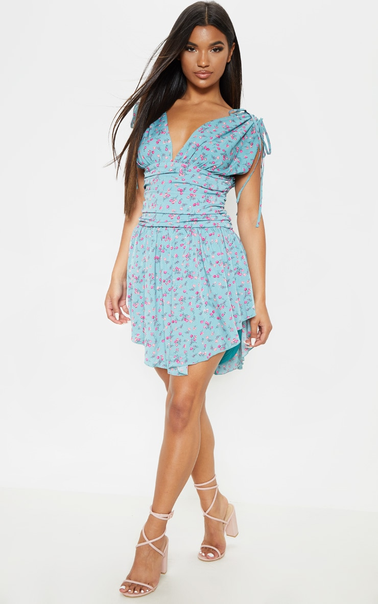 Aqua Blue Floral Print Plunge Ruched Waist Asymmetric Hem Shift Dress 4