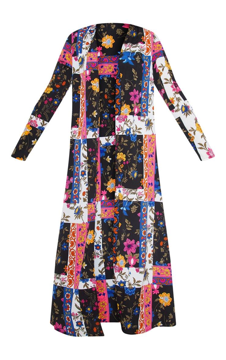 Pink Panelled Floral Beach Kimono 3
