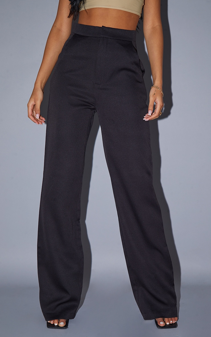 Tall Black Pocket Detail High Waisted Wide Leg Trouser 2