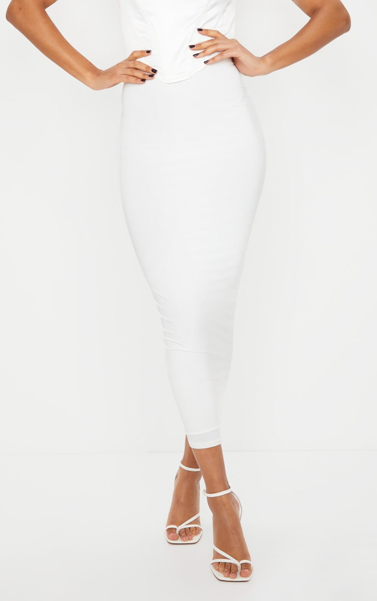 White Second Skin Slinky Midaxi Skirt 2