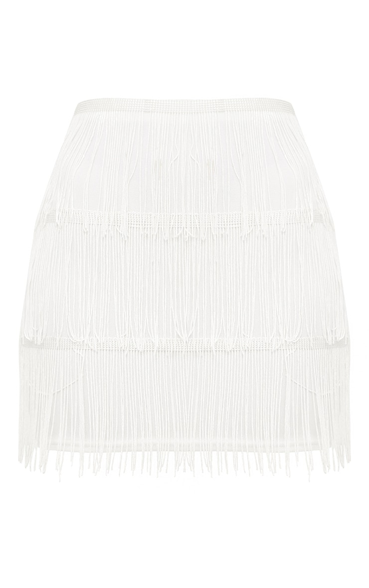 White Tassel Mini Skirt 3