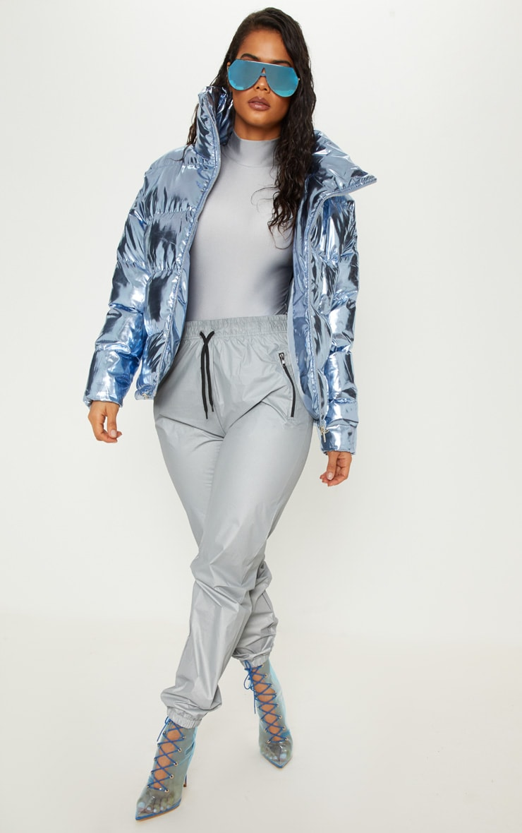 Blue Metallic Puffer  4
