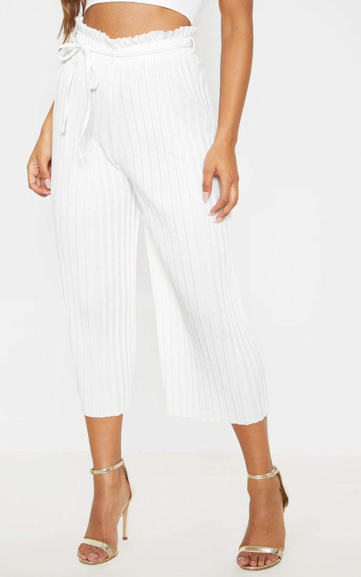 White Pleated Tie Waist Culottes 2