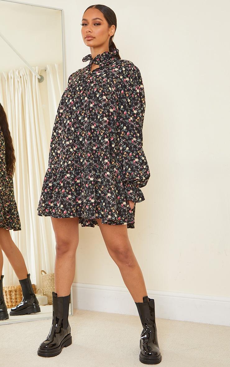 Black Floral Print High Neck Frill Detail Smock Dress 3