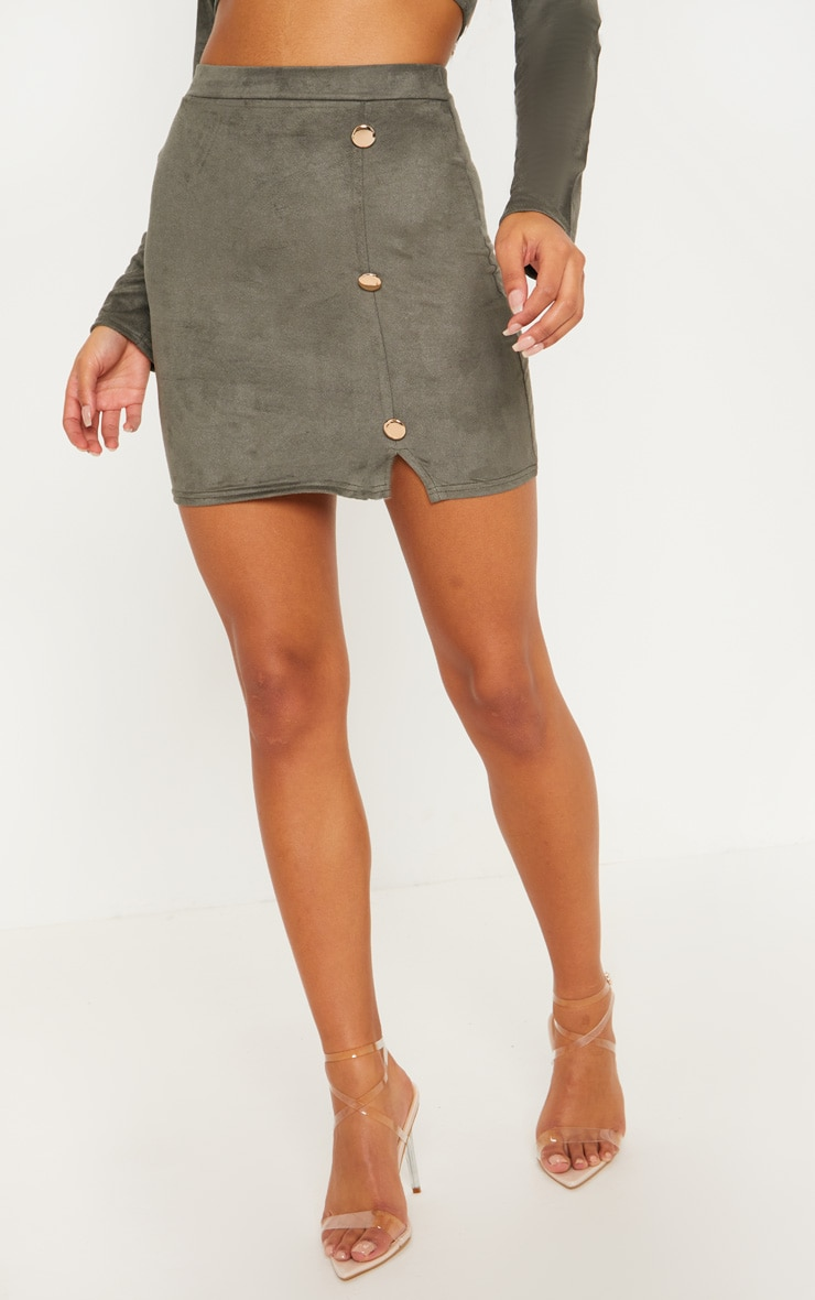 Khaki Faux Suede Button Detail Mini Skirt 2