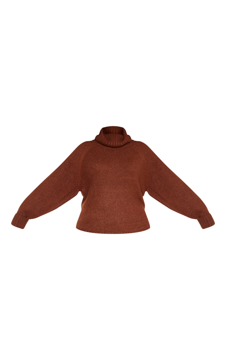 Plus Brown Cowl Neck Mid Length Jumper  3