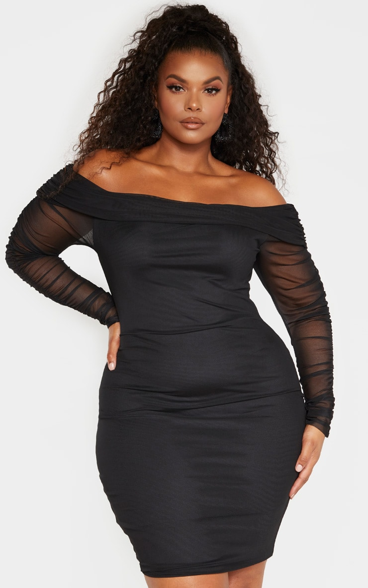 Plus Black Ruched Bardot Mesh Midi Dress 1