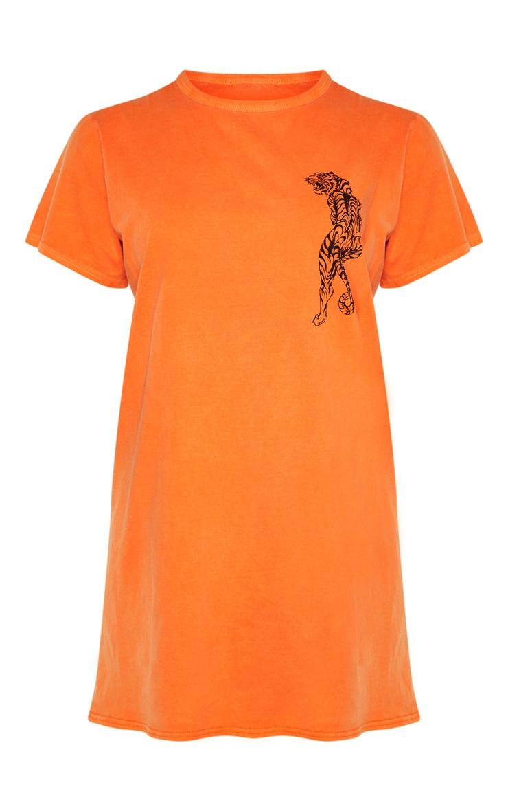 Orange Tiger Printed T Shirt Dress 3
