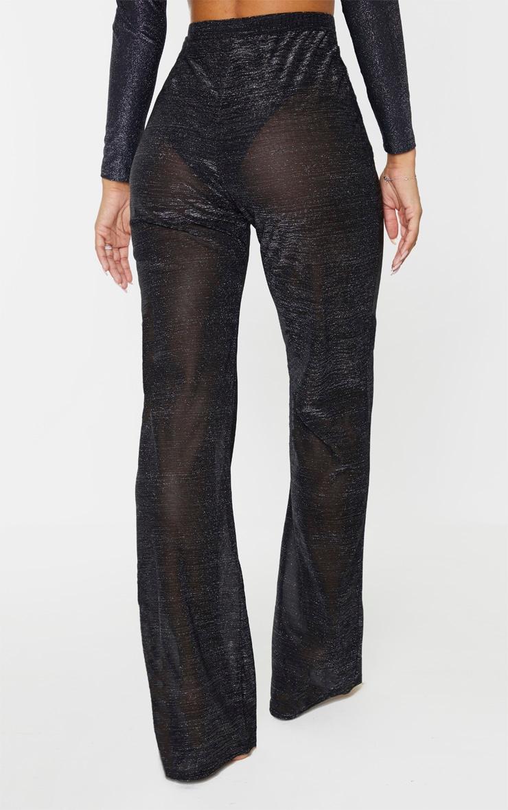 Black Glitter High Waist Wide Leg Beach Pants 3