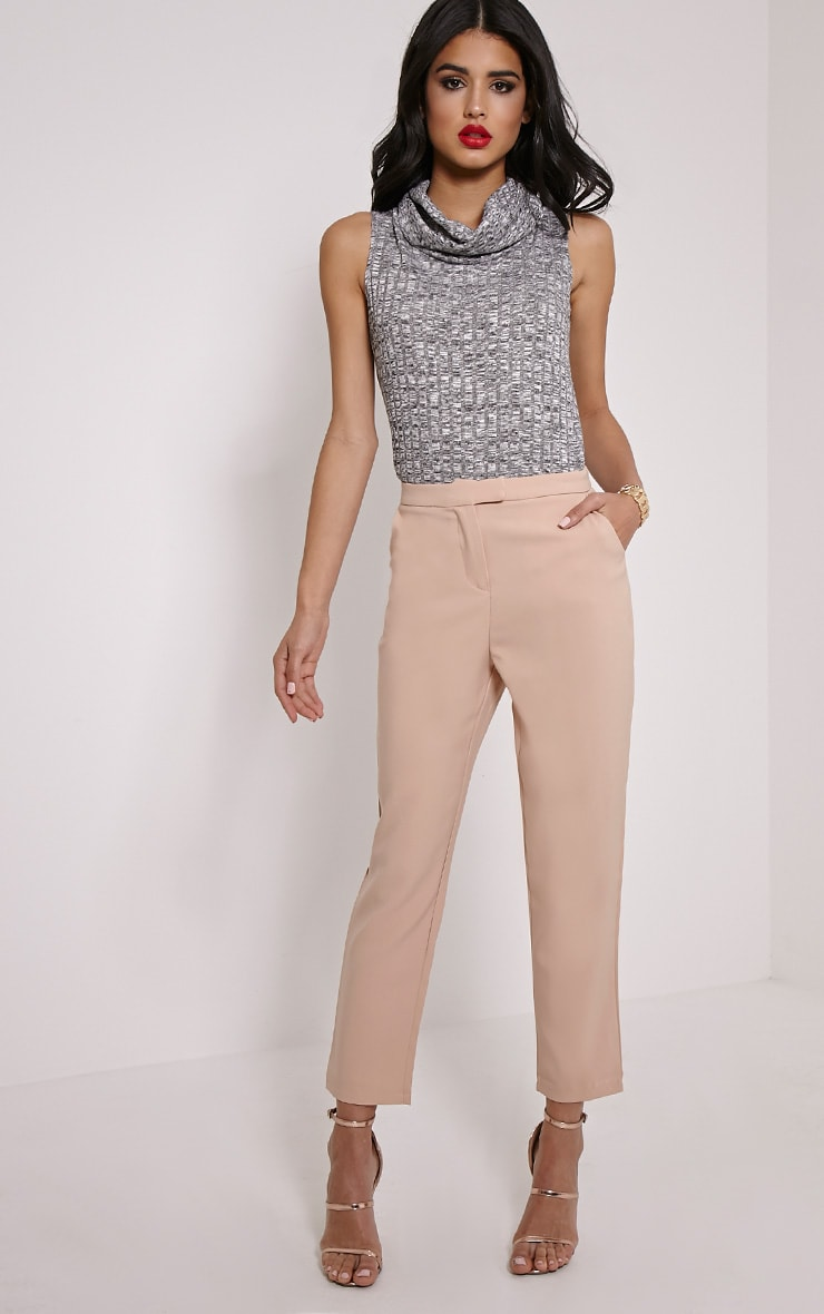 Dione Grey Marl Knitted Roll Neck Top 3