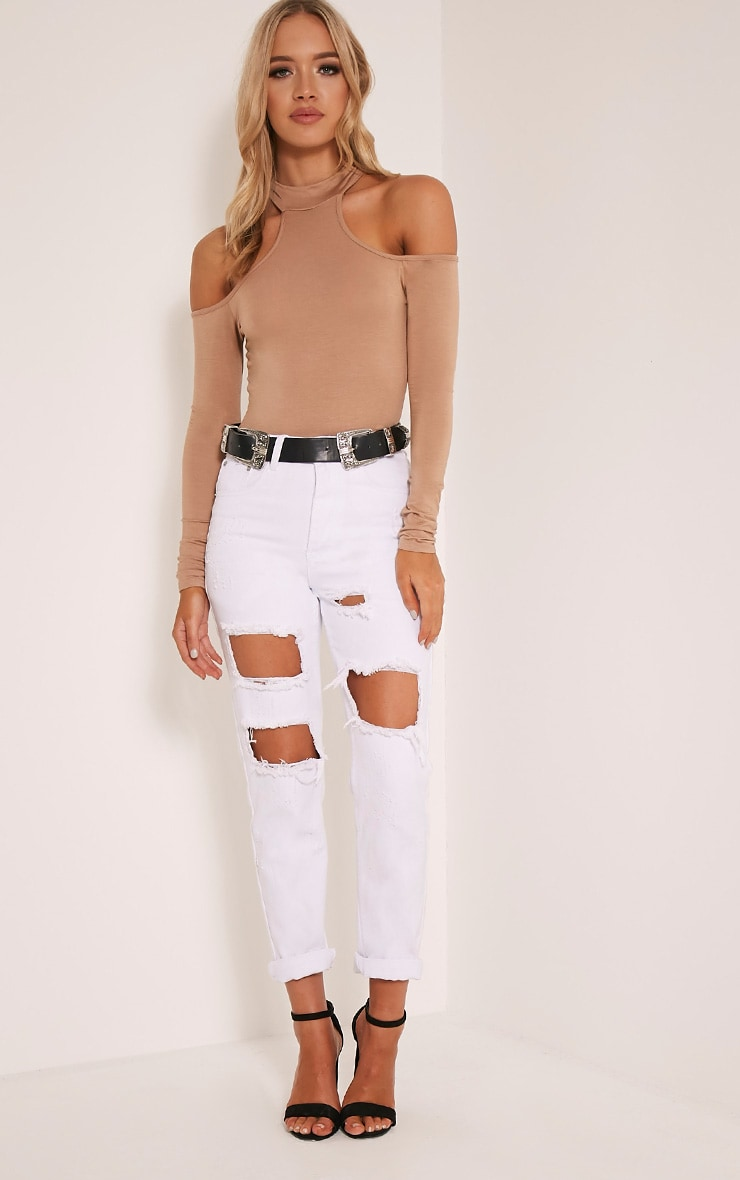 Hazel Camel Cut Out Shoulder Bodysuit 5