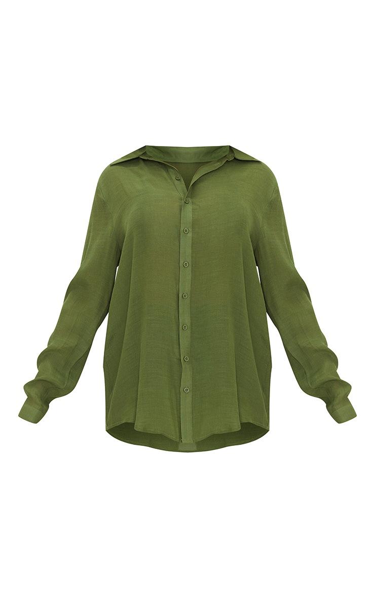 Khaki Linen Look Beach Shirt 5