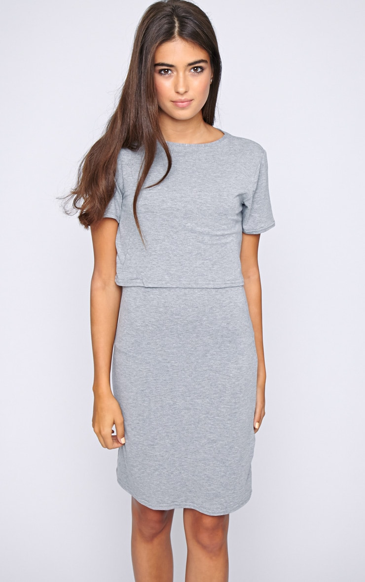 Fran Grey Layered Tshirt Dress with Open Back  4