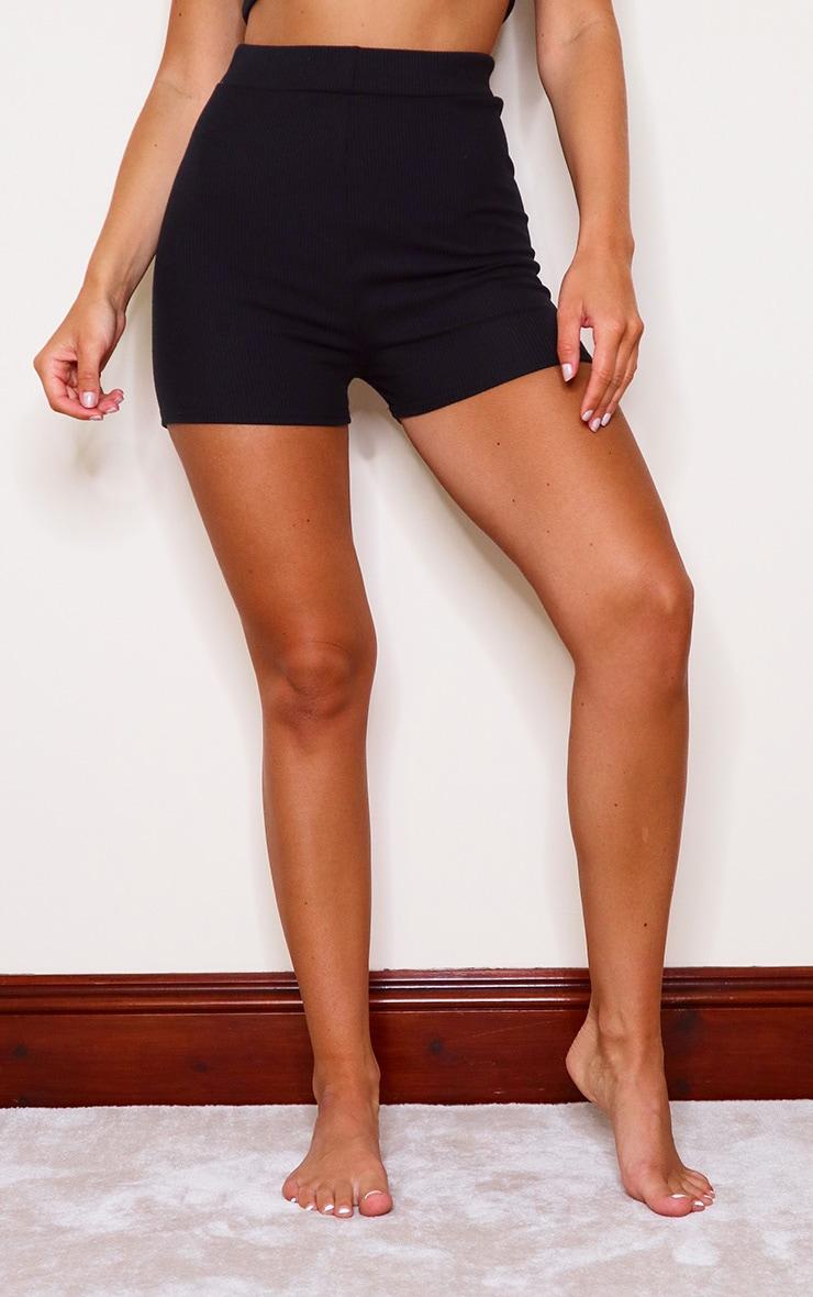 Black Soft Rib Mini Lingerie Short 2