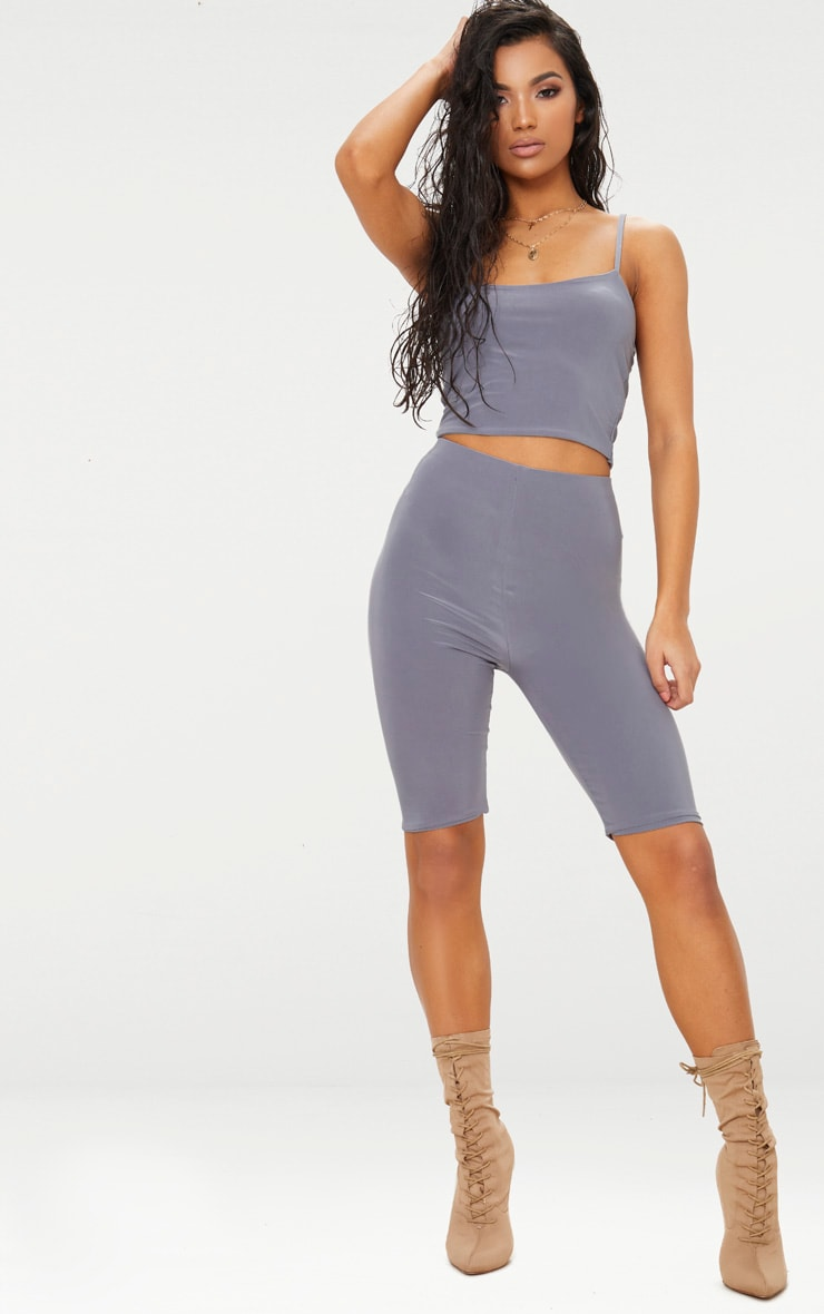 Grey Slinky Longline Cycle Short 4