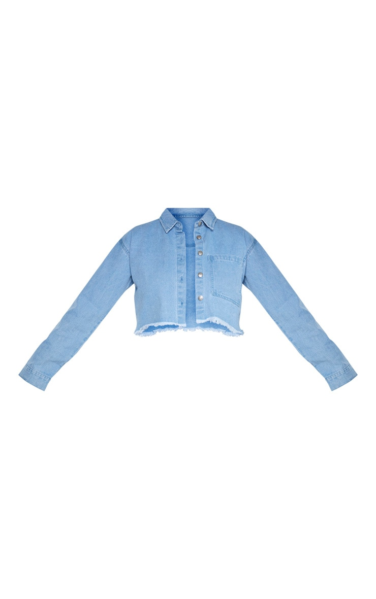 Plus Light Wash Fray Hem Cropped Denim Shirt  3