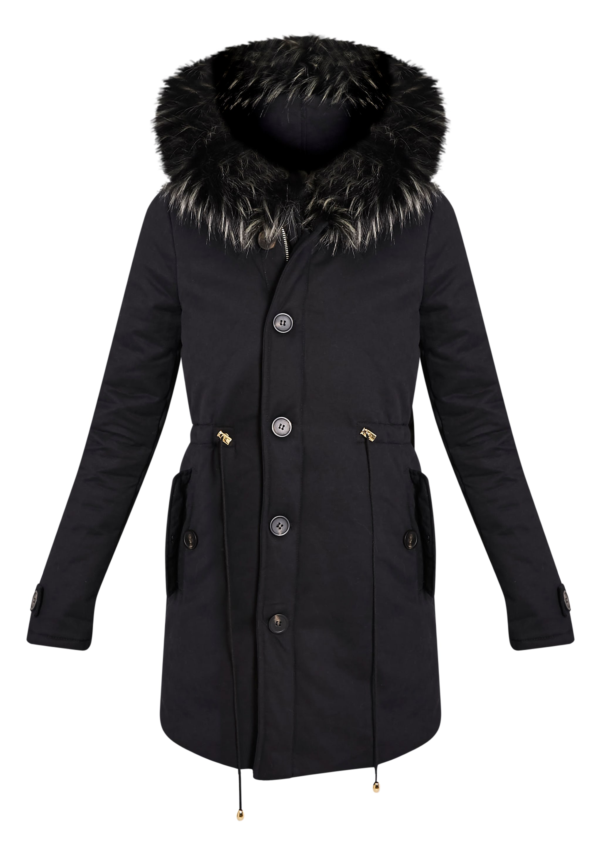 Emmi Black Premium Faux Fur Lined Parka Coat 3