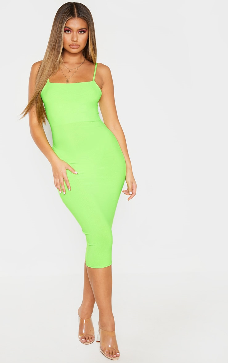 Neon Lime Strappy Midi Dress 4
