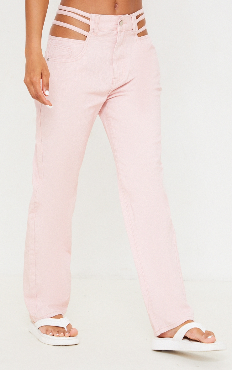 Pale Pink Strappy Cut Out Hip Straight Leg Jeans 2