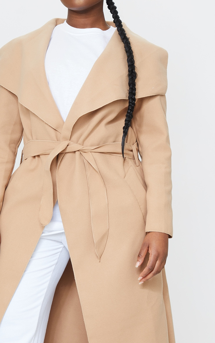 Petite Camel Maxi Length Oversized Waterfall Belted Coat 4