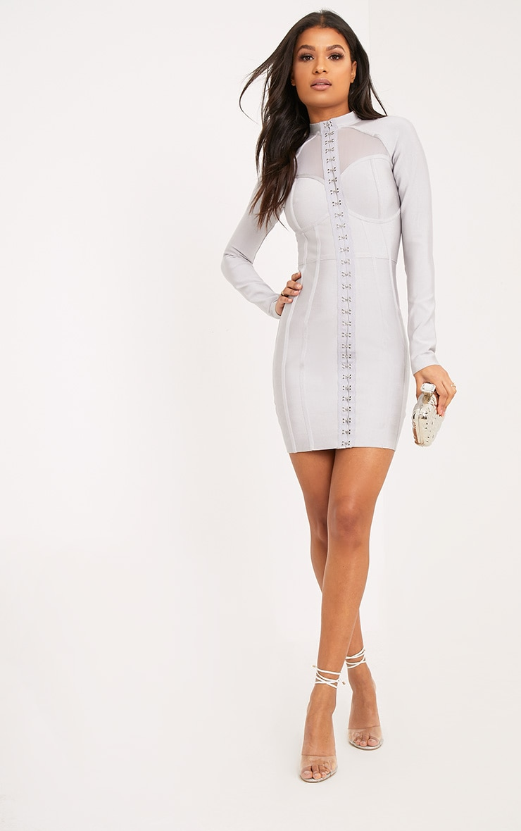 Averie Ice Grey Bandage Eyelet Detail Bodycon Dress 4