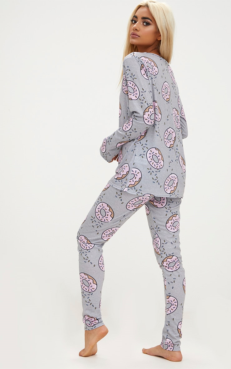 Grey Long Sleeve Doughnut Legging PJ Set 2