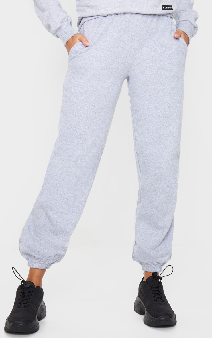 PRETTYLITTLETHING Grey Badge Detail Sport Joggers 2
